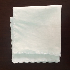 pure cotton white scalloped edge handkerchief