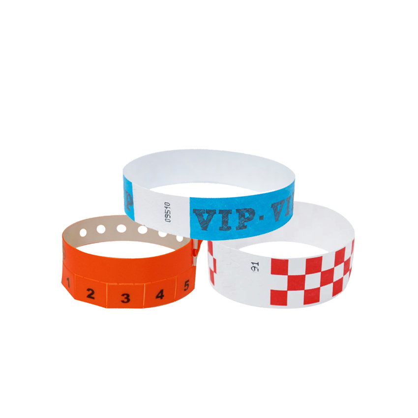 Pvc One Time Colorful Printed Waterproof Tyvek Paper Wristband For Events