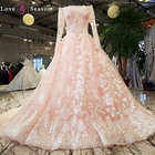 LS64345 pink evening gowns formal 3D flower applique ladies modern long train elegant dress