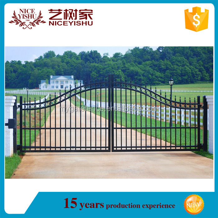 china used double swing automatic safety gate hardware wrought iron/ aluminum gate design / iron fencing for villa garden school