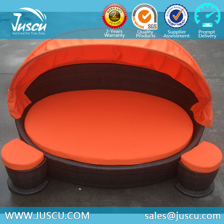 Juscu Rattan Daybed With Canopy Replacement Cushion Covers Outdoor Furniture  With Ottoman Part 91