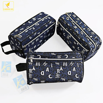 LQPT-B1640 Generic jeans Canvas Different Colors Cute Girls Pen Bag Pencil Case Cosmetic Makeup Bag Pouch Pocket Case Pack Of 3