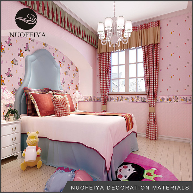ds18030 NUOFEIYA colorful carton pony design bedroom kids children baby room waterproof wall paper