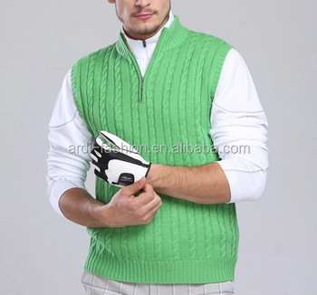 cc3579c11 2015 1 4 Zip Cable Knitting Pattern Mens Sleeveless Golf Sweater ...