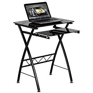 Mohawk Black Tempered Glass Home/Office Computer Desk w/Pull-Out Keyboard Tray