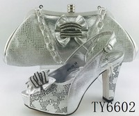Silver color high heel wedding wholesale african shoes and bag set