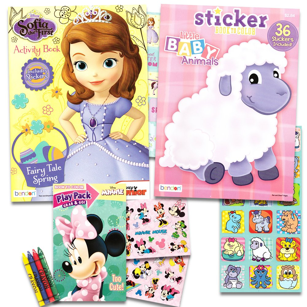 Disney Easter Coloring Books Super Set with Stickers -- 2 Books and Playpack Featuring Minnie Mouse, Sofia the First and More!