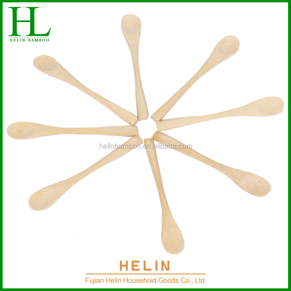 Bamboo food spoon with long handle baby snack spoon BSCI
