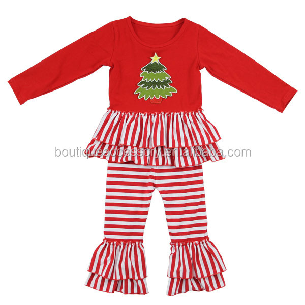 Trendy Little Girls clothing Christmas Tree Stripe Outfits