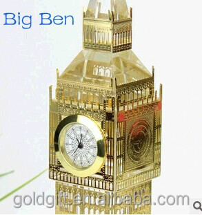 golden and silver Big Ben crystal clock for souvenir gifts