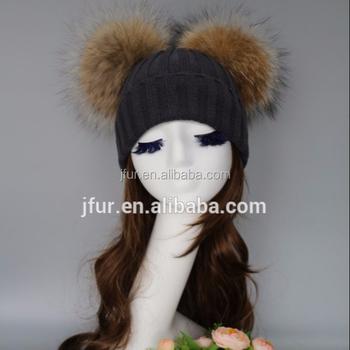 9b0674908ac Big hat winter pretty knitting style warm wool hat women natural raccoon  fur pom poms ball