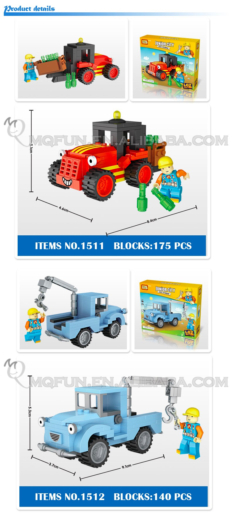 Mini Qute Kawaii loz 5 styles Engineering vehicle car cartoon diamond block plastic cube building block educational toy