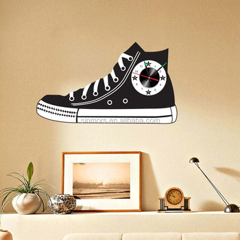 big size shoes design wall clock sticker for decorations self