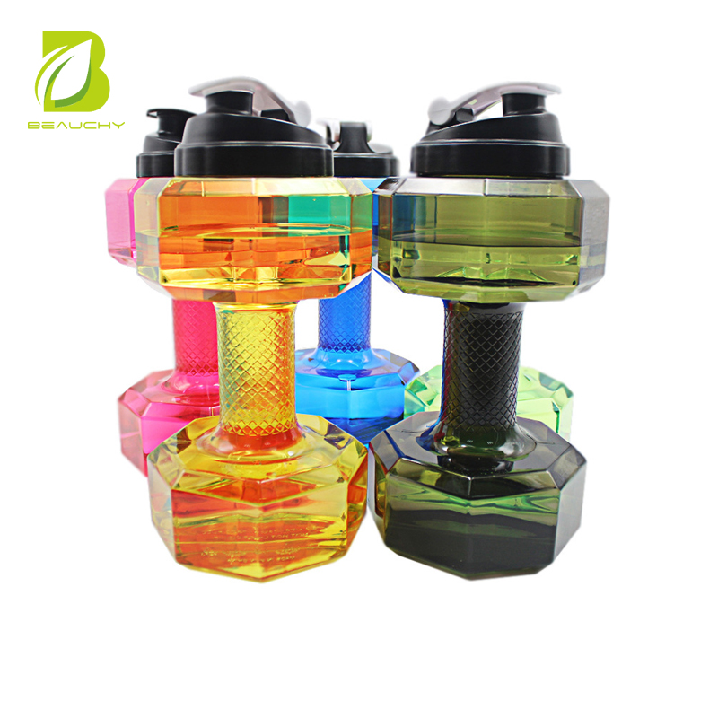 Patent Products Plastic colorful 2.2L Dumbbell Water Bottle With Private Label