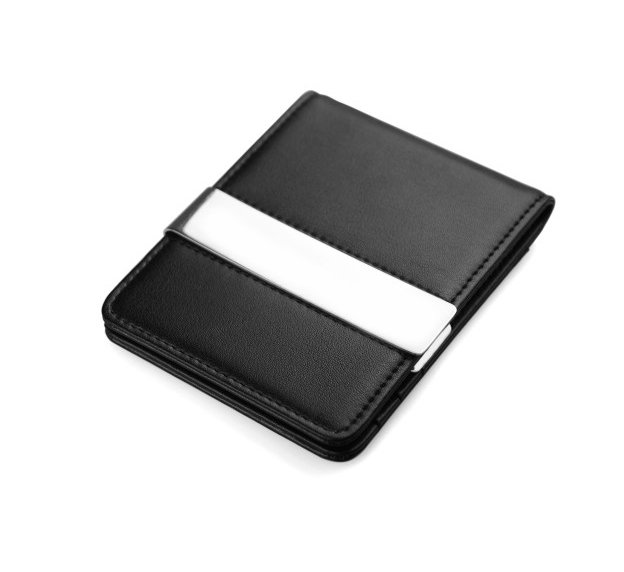Ultra thin design small moq entire dermis leather mens business wallet with metal money clip