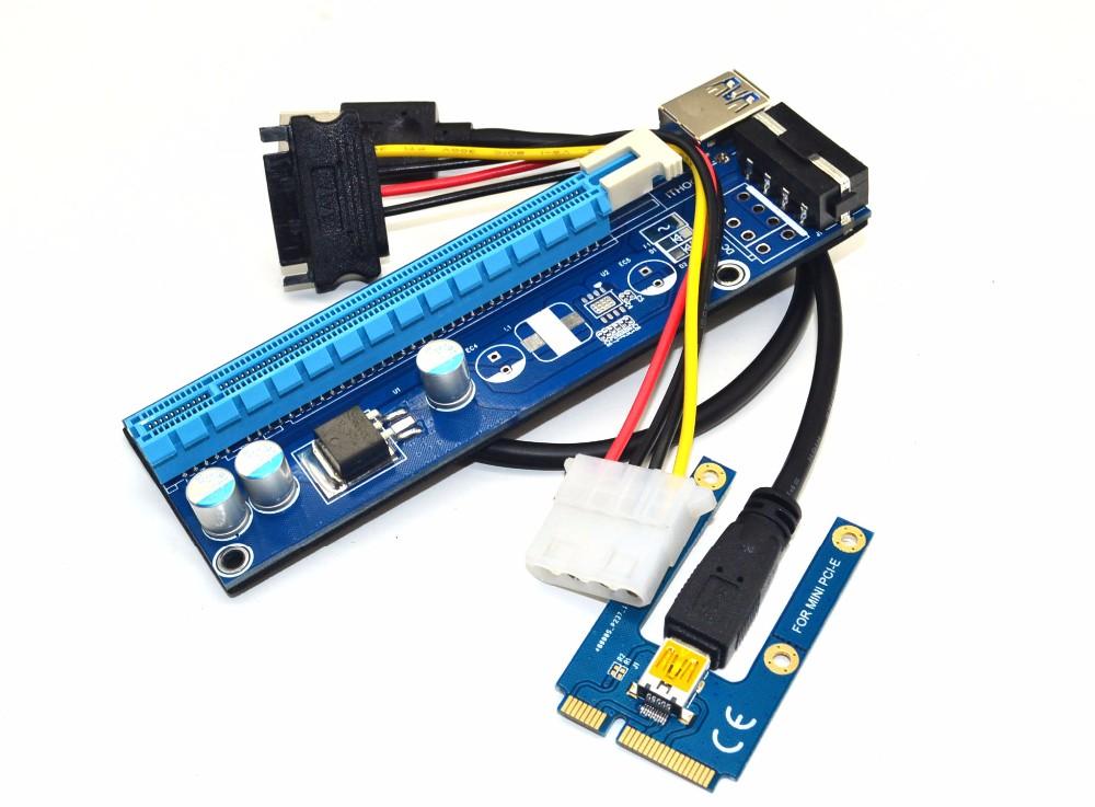 4pin Molex Mini Pci E Express Usb3 0 1x To 16x Adapter