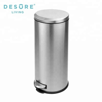 Moon Cover Metal Stainless Steel Kitchen Trash Can Waste Bin With