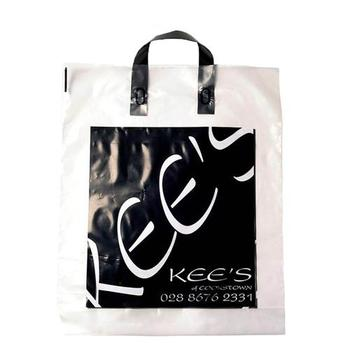 Environmental Biodegradable Custom Logo Printing Rigid Loop Handle Long Plastic Bags Big Size