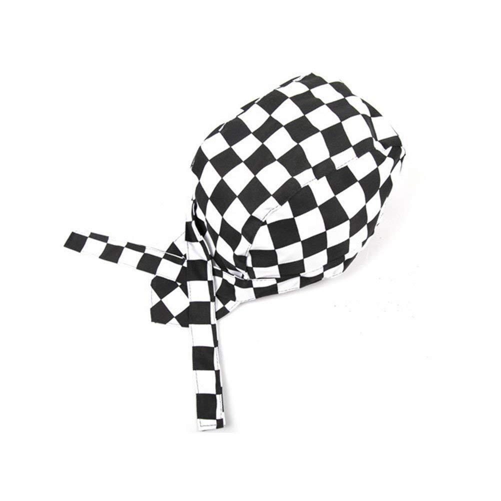Vosarea Fashion Checkered Chefs Hat Cap Kitchen Catering Skull Cap Ribbon Cap Turban for Adults Men Women Cooking Baking BBQ Server (Black+White)