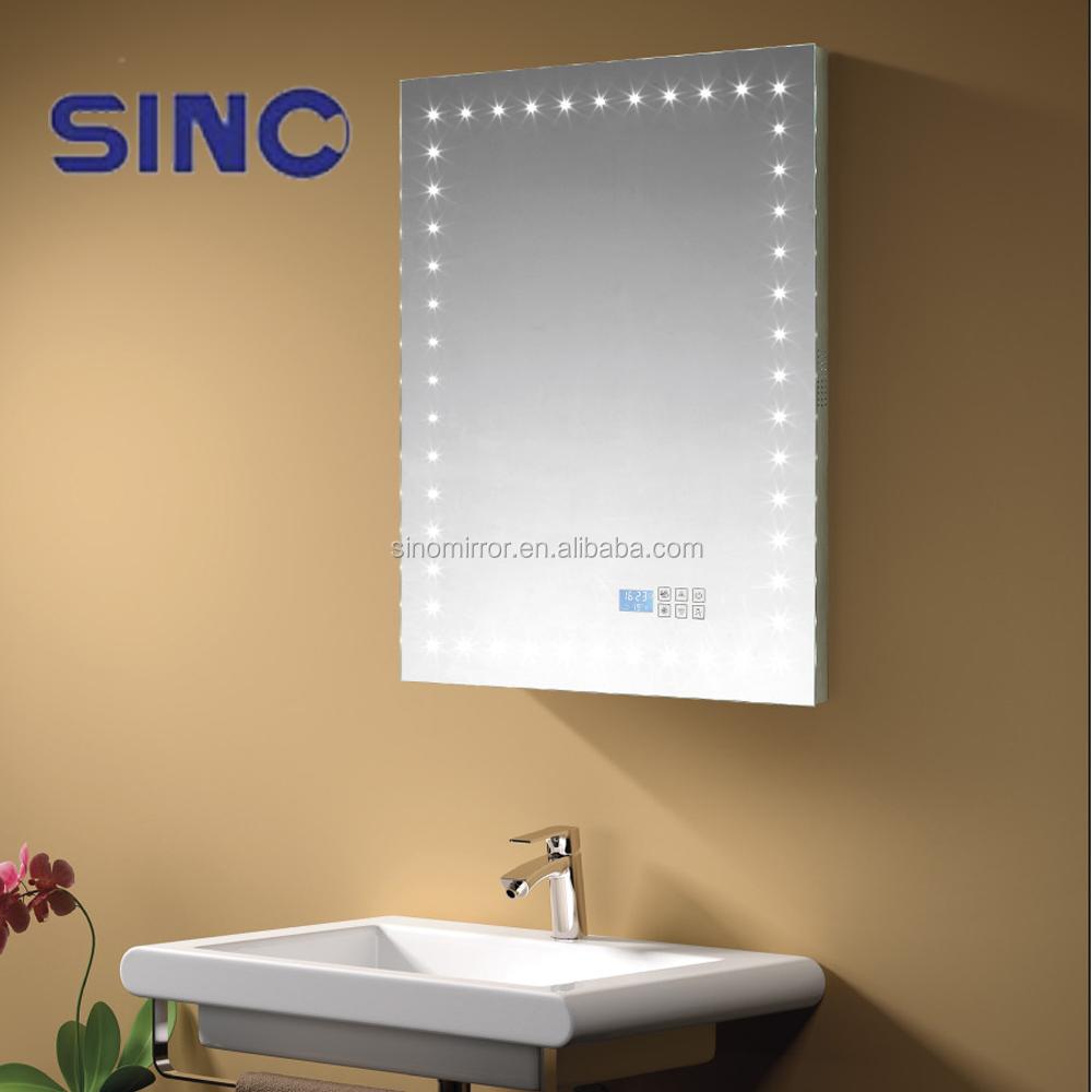 cran tactile salle de bains led miroir avec blutooth radio - Miroir Salle De Bain Antibuee Radio
