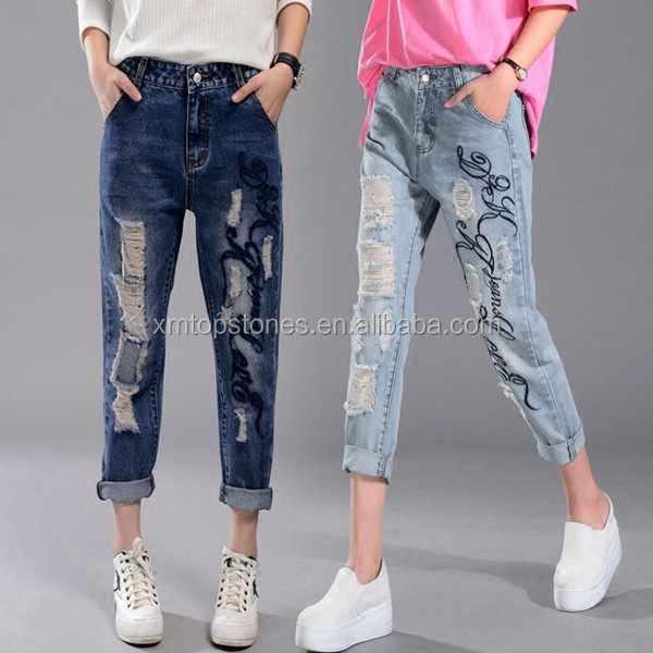 BF style flanging pants straight-leg embroidery ripped jeans