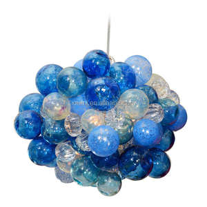 Contemporary unique style Hand blown art colored blue ball design glass chandelier