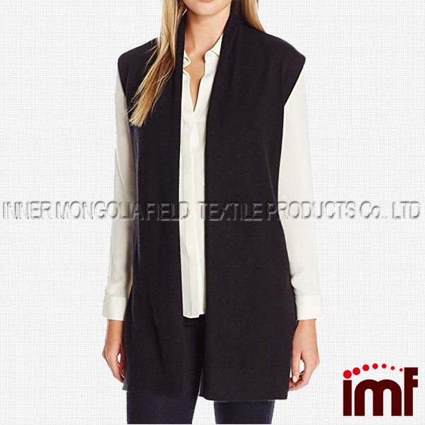 Cardigan Knit Open Front Long Sleeveless With Side Slits
