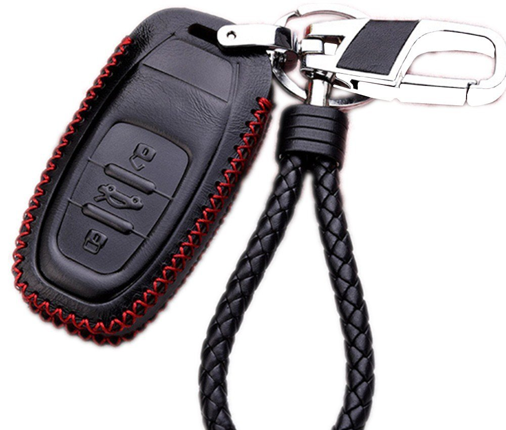 Genuine Leather Cover Etui Smart Remote Car Key Fob Holder Case Skin Protector with Braided Key Chain & Key Rings for 3 Buttons AUDI Accessories in Black