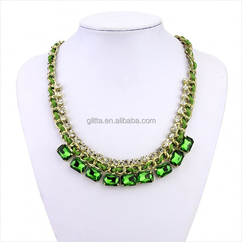 European style jewelry full neck covering necklace design Emerald tattoo choker necklace GL15264