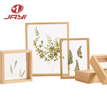 Well-crafted Pine Wood Double Sided Glass Wooden Float Frame