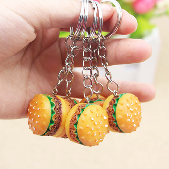 Personality resin simulation food hamburger keychain accessories promotion small gift pendant unisex keychain