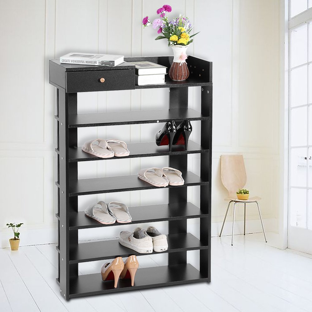 Yosoo Shoes Rack, 6 Tiers Standing Shoe Rack with Drawer Space Saving Shoes Shelf Storage Organizer Home Use Entryway Shoe Storage Organizer