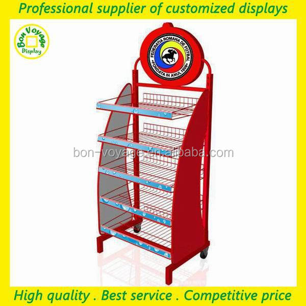 top quality manufacture metal point of sale display rack with 5 tiers metal wire shelves