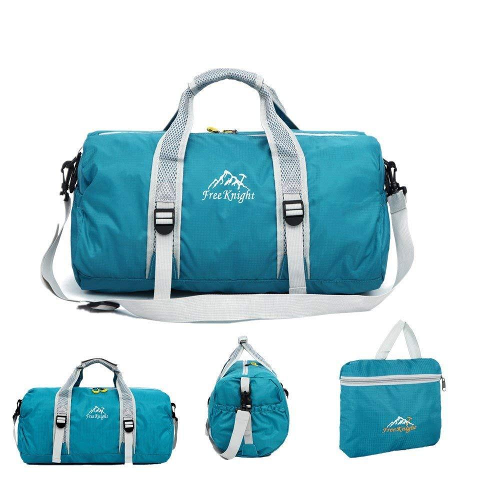 Portable Folding Outdoor Bags,FuriGer Gym Training Handbag Traveling Hiking Shoulder Bag Sport Bags Fishing hanbag-Blue