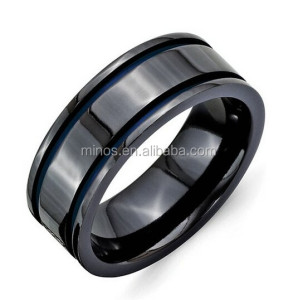 Indonesia Titanium Ring, 8mm Black Blue Anodized Grooves High Polish Finish Titanium Wedding Band