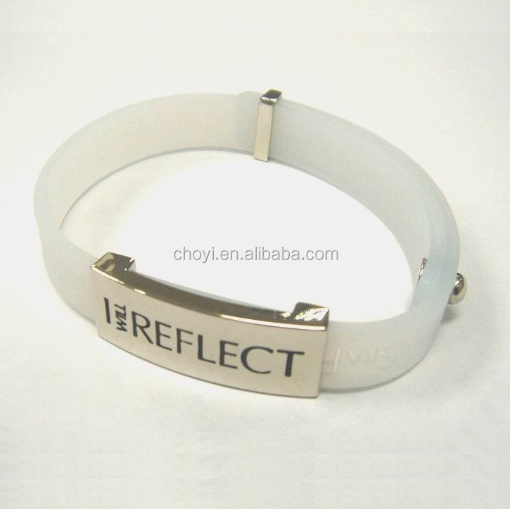 silicone bracelet with metal