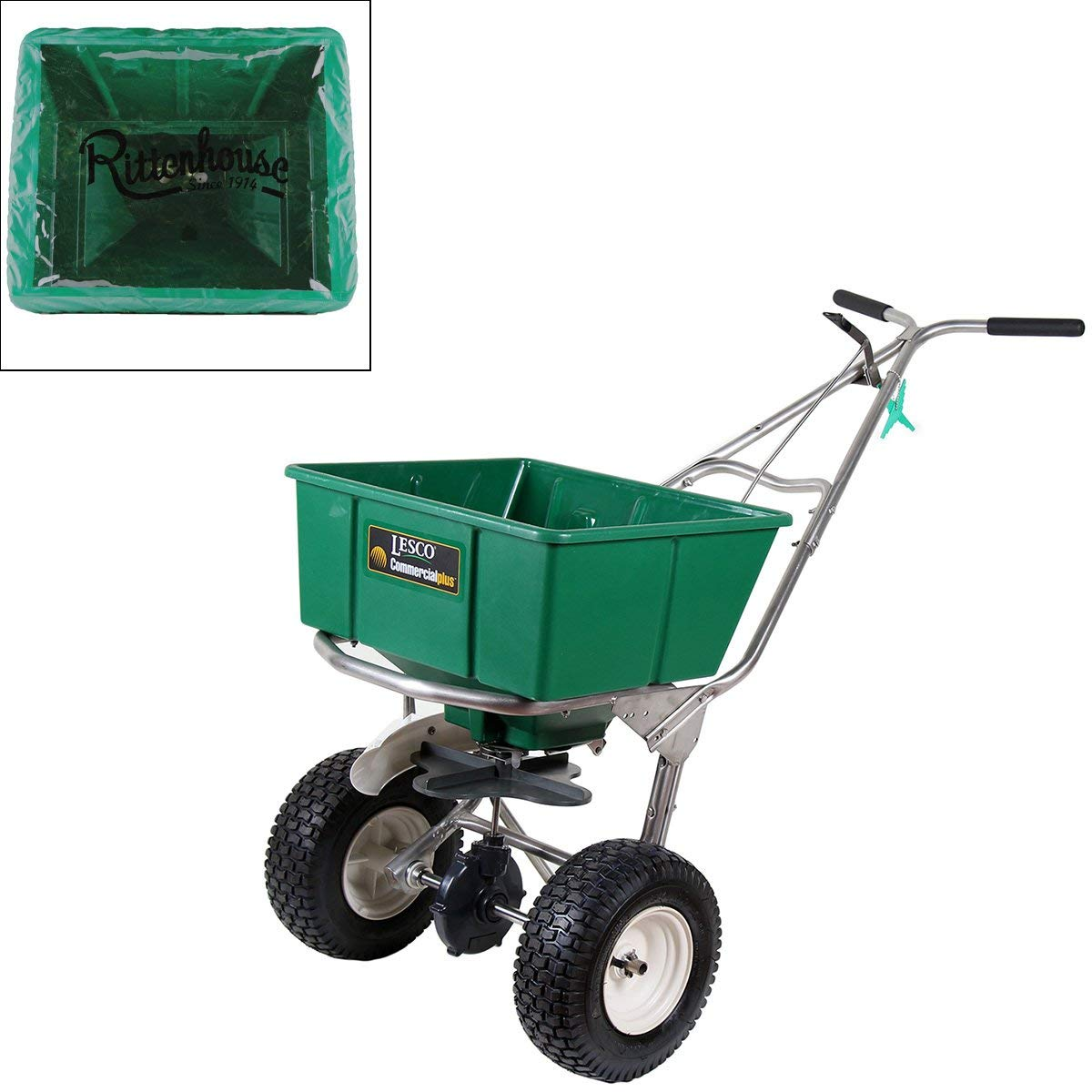 Get Quotations · Lesco 101186 High Wheel Walk-Behind Fertilizer Spreader  with Rittenhouse Hopper Cover (Bundle,