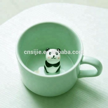 3D Cute Animal Design Ceramic Coffee Mugs with Lid