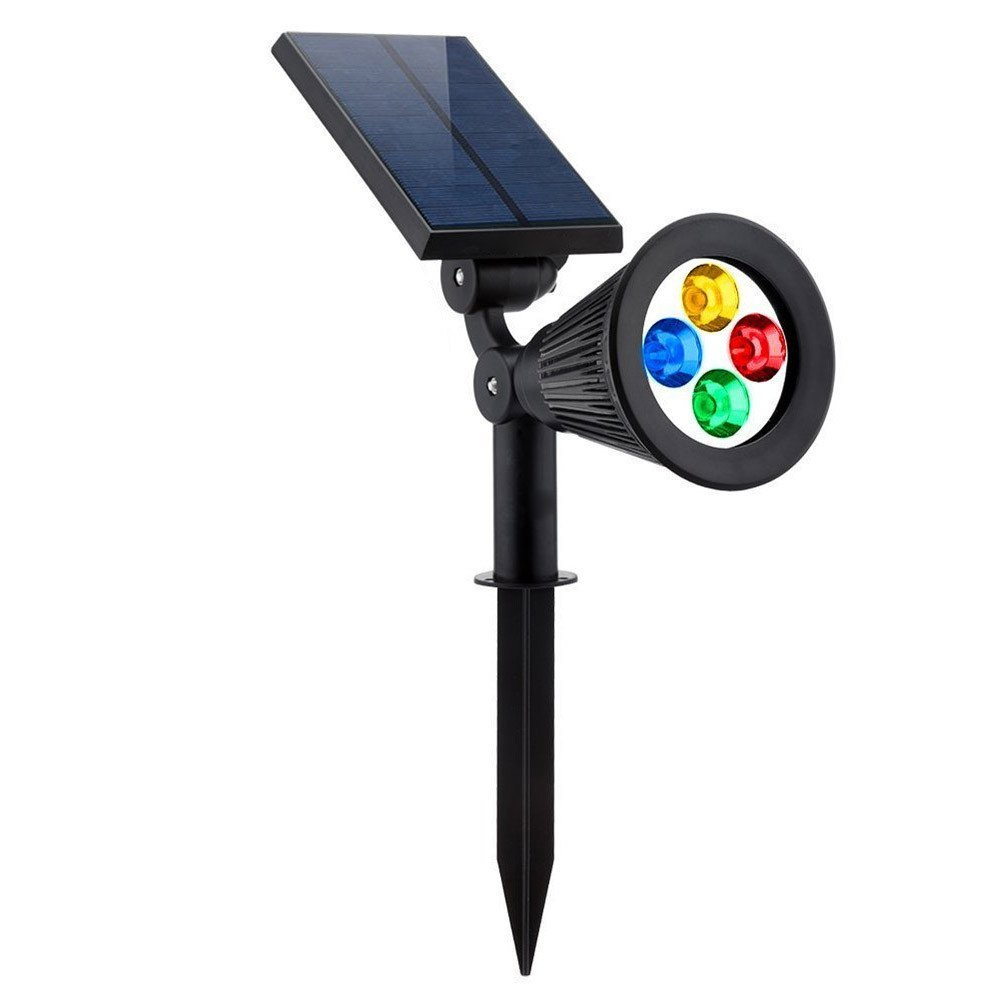 Welsun Waterproof 4 LED Solar Spotlight Adjustable Wall Light Landscape Light Security Lighting Dark Sensing Auto On/Off for Garden Driveway Pool Area 1pcs
