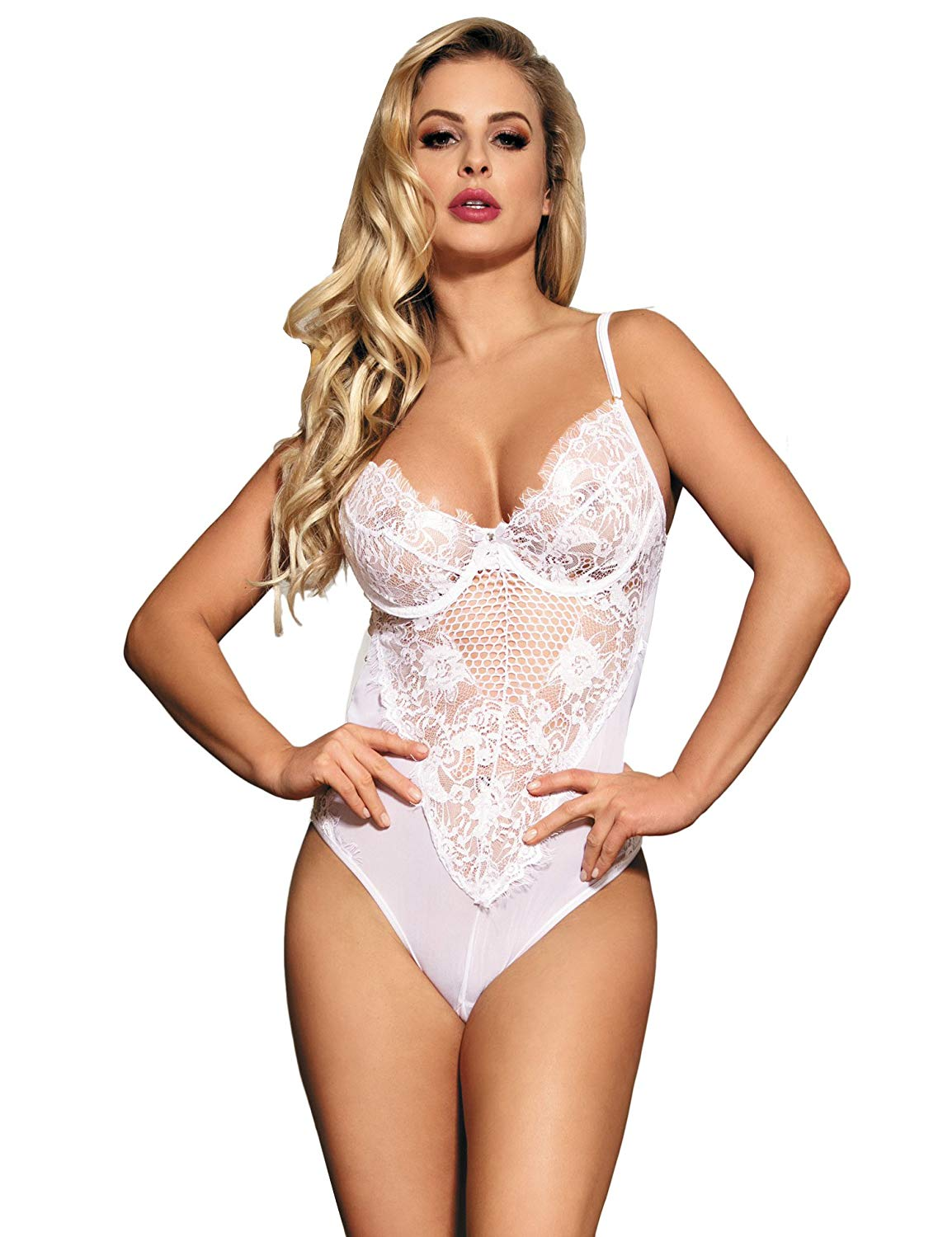 Get Quotations · comeondear Women Lace Teddy Bodysuit Mesh Babydoll Outfit  Plus Size Lingerie Bodysuit 382321a01