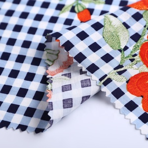 Combined order supplier gingham floral woven rayon poplin print men shirt check fabric polyester