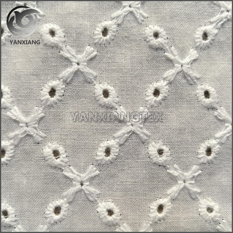 Fancy Custom Eyelet Cutwork White Lace Cotton Embroidery Fabric