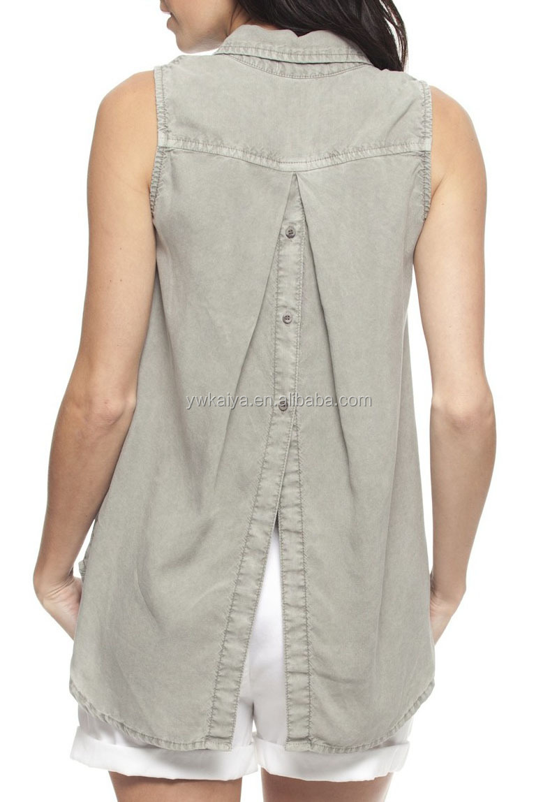 Shirt design womens - 2015 Sleeveless Button Back Shirt Latest Design Beach Apparel Womens Fashion Tops