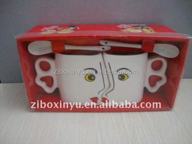 ZIBO XINYU XY-0767 Special Design Couple Cup with Spoon and Red Box