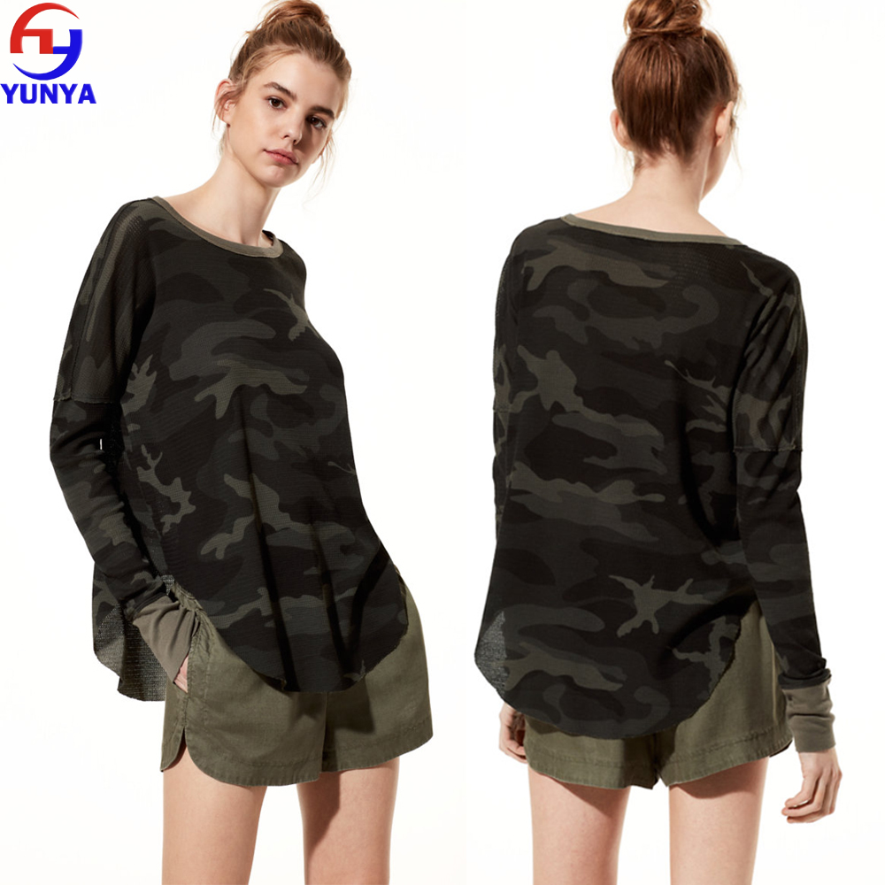Fashion waffle knit fabric printing camouflage long sleeve rounded hem women t shirt