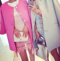 Z50511B Women's full length wool blend coat slim trench lady fashion long coat