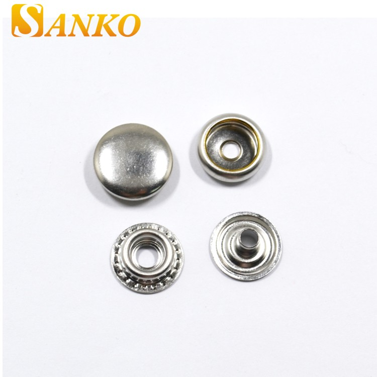 6 part brass metal press prong custom double side snap button