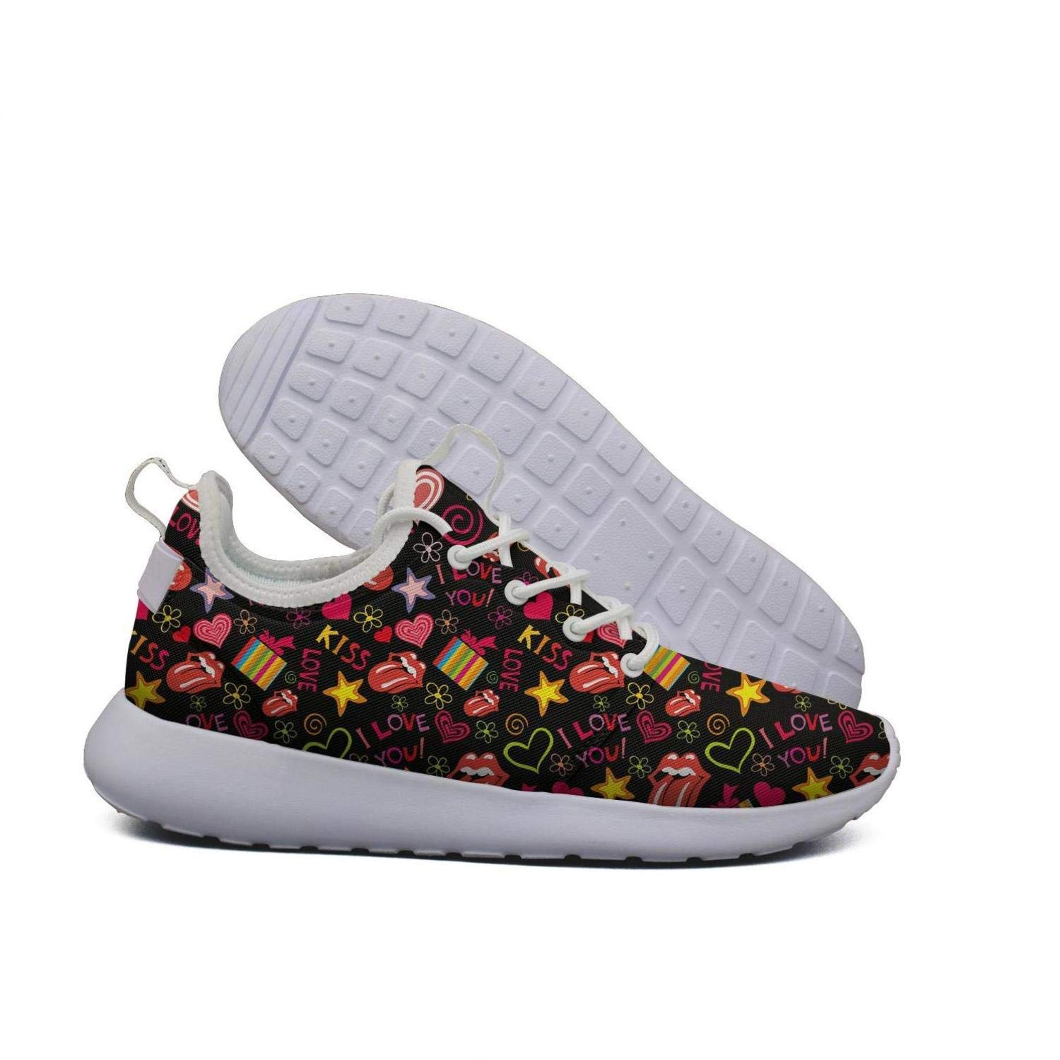 Hoohle Sports Womens red Lip Phone Flex Mesh Roshe 2 Lightweight Breathable Cross-Trainer Shoes