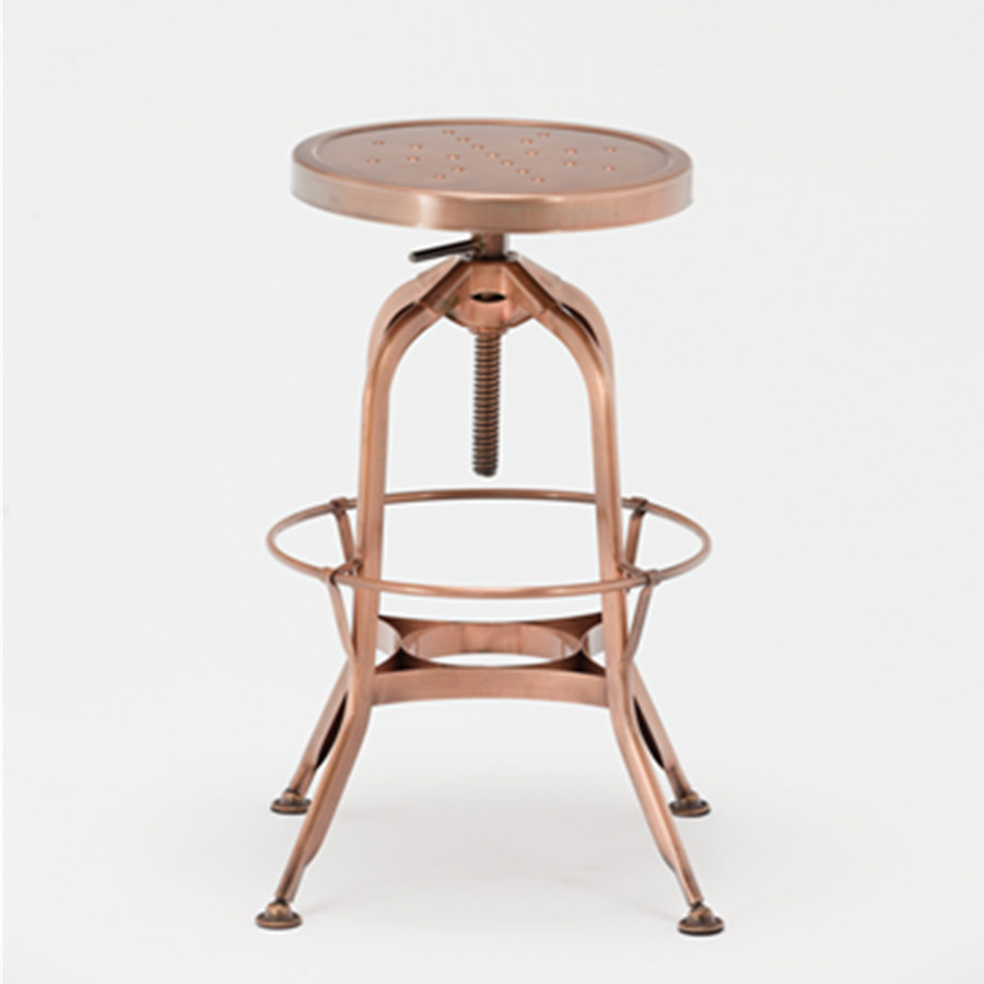 Vintage French Style Rose Gold Industrial Metal Bar Stools