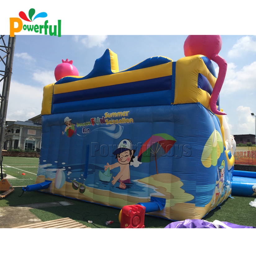 New inflatable jumping water slide with pool for amusement park